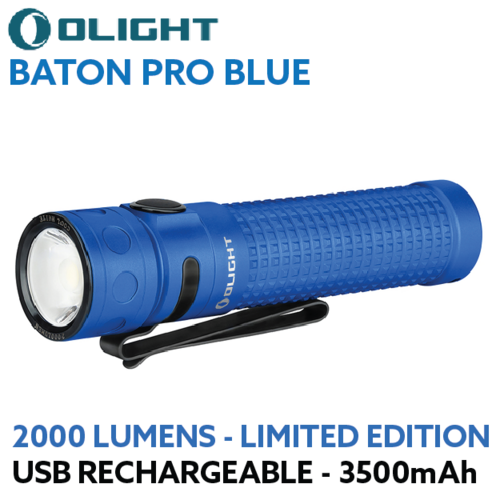 Olight Baton Pro 2000 lumen rechargeable LED torch Limited Edition Blue