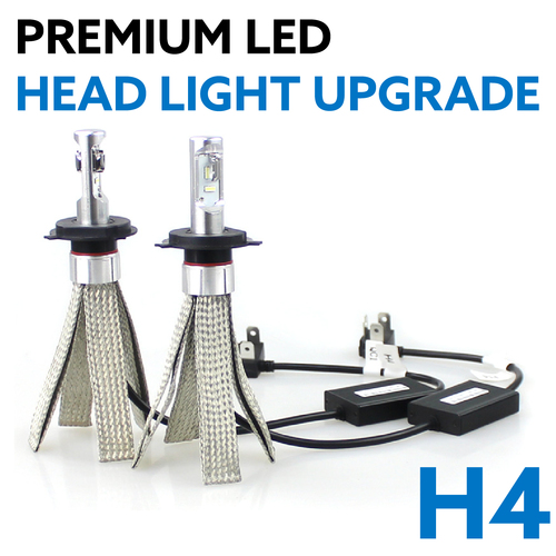 H4 Hi/Low Beam LED Headlight Bulb Globe Upgrade Kit 5700K w/ Canbus