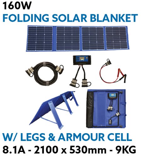 160W Heavy Duty Portable Solar Blanket Mat with Armour Cell & Built in Legs