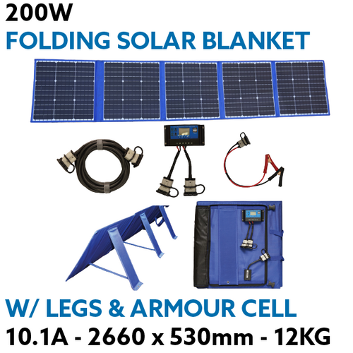 200W Solar Blanket Flexible Folding Panel w/ Legs & Armour Cell