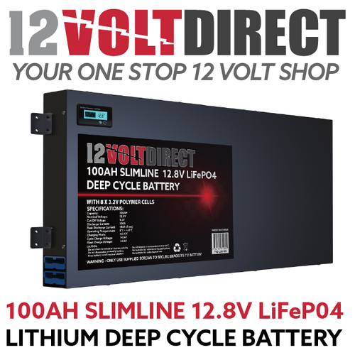 100Ah 12.8V Slimline Lithium LiFePO4 Deep Cycle Battery