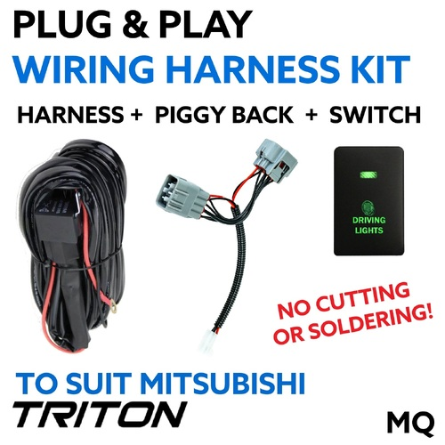 Mitsubishi Triton MQ (W/ LED Headlights) Plug & Play Driving Light / Lightbar Wiring Harness
